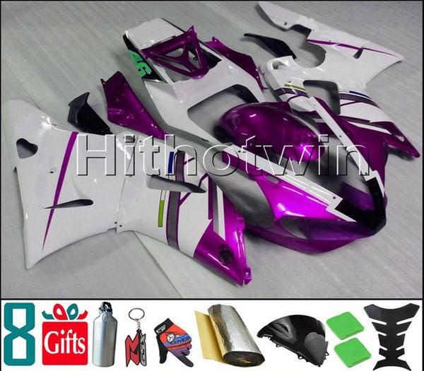 lila weiße Motorradverkleidung für Yamaha YZF-R6 1998-2002 98 99 00 01 02 YZFR6 1998 1999 2000 2001 2002 ABS Kunststoffverkleidung