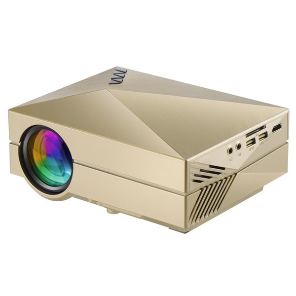 Wholesale-2015 Newest Golden GM50 Upgrade GM60 3D HD 1080p Mini portable Projector USB&SD VGA HDMI LCD Projectors beamer Wholesale Russian
