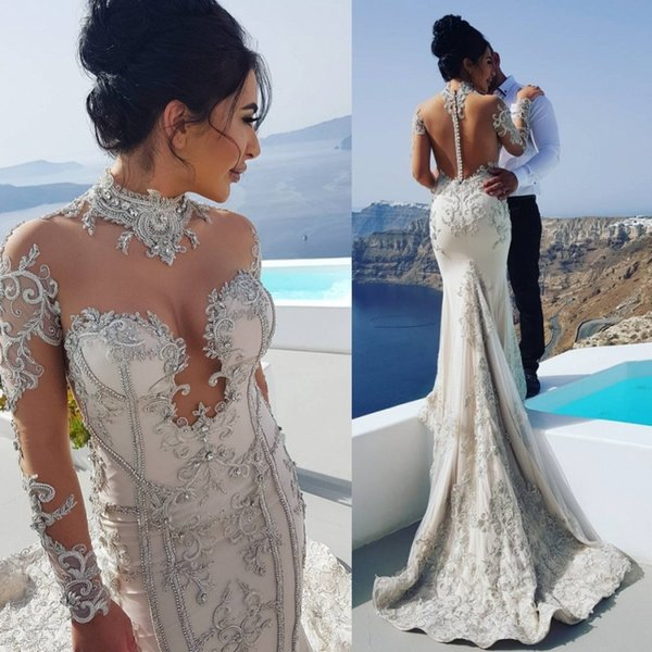 Gorgeous Beads Mermaid Wedding Dresses Sleeves Bridal Gowns High Neck Illusion Back Covered Buttons Appliques Wedding Gown Bohemia