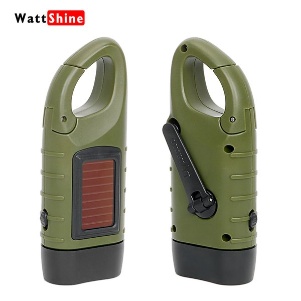 Professional Portable LED Hand Crank Dynamo Solar Power Flashlight Torch for Outdoor Camping Mountaineering Traditional Design