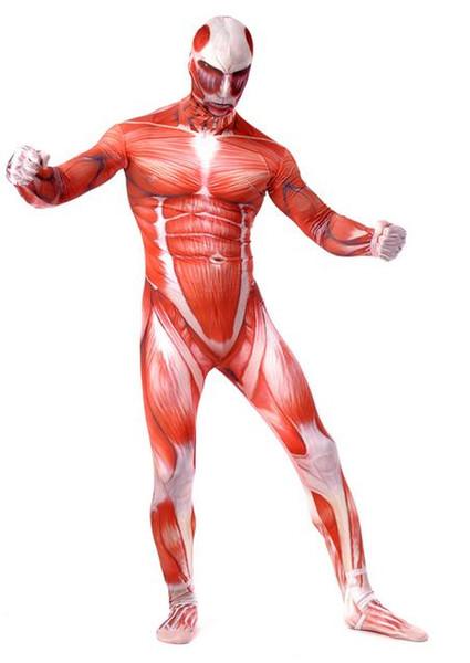 Ataque DHL Em Titan Spandex Lycra Zentai Ternos Muscle Costume Cosplay Fancy Dress