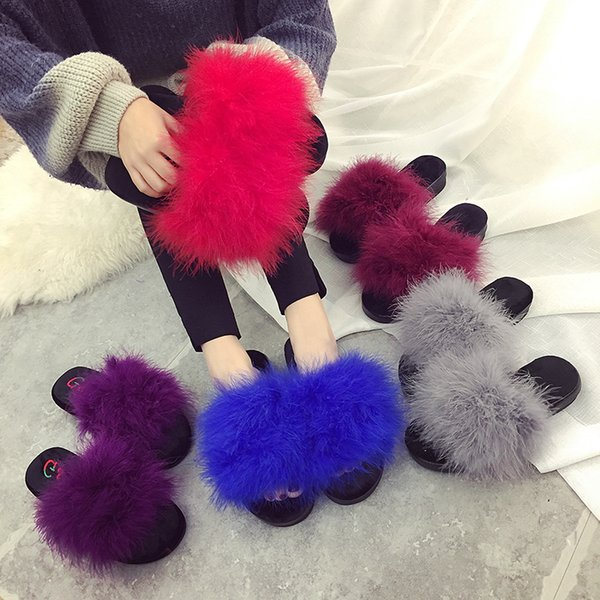 Size 35-42 sweet candy color summer women real natural feather turkey fur fuzzy slippers slides mules women open toe flat shoes
