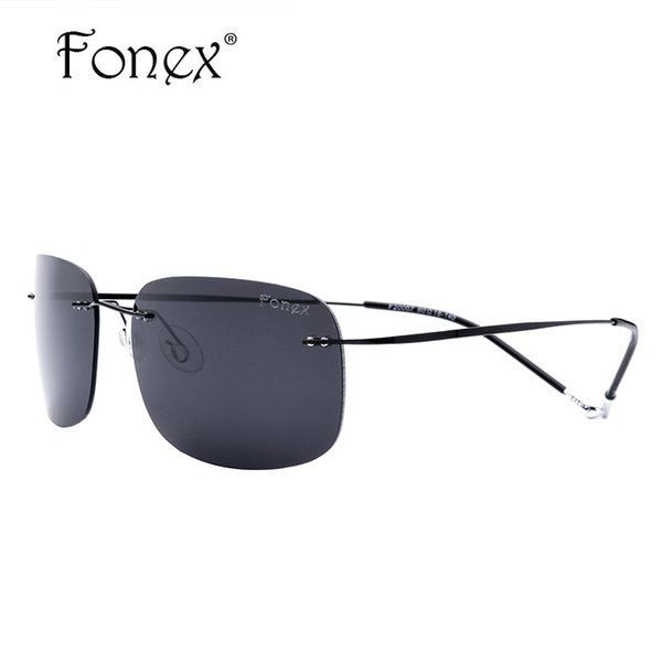 Wholesale- FONEX 2017 New Women Brand Designer Vintage Cool Men Oval Rimless Sunglasses Unisex Men's Square Titanium Polarized Sun Glasses