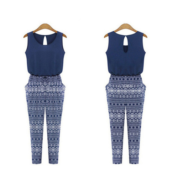 Wholesale- Hot Sale Women Sleeveless Print Jumpsuit Summer Sexy Fashion Chiffon Rompers European Style Long Patchwork Jumpsuit DP667311