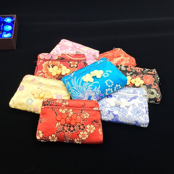 Elegant Vintage Small Women Wallet Double Zipper Bags Chinese Silk Brocade Coin Purse Jewelry Storage Bag Credit Card Holder 50pcs/lot