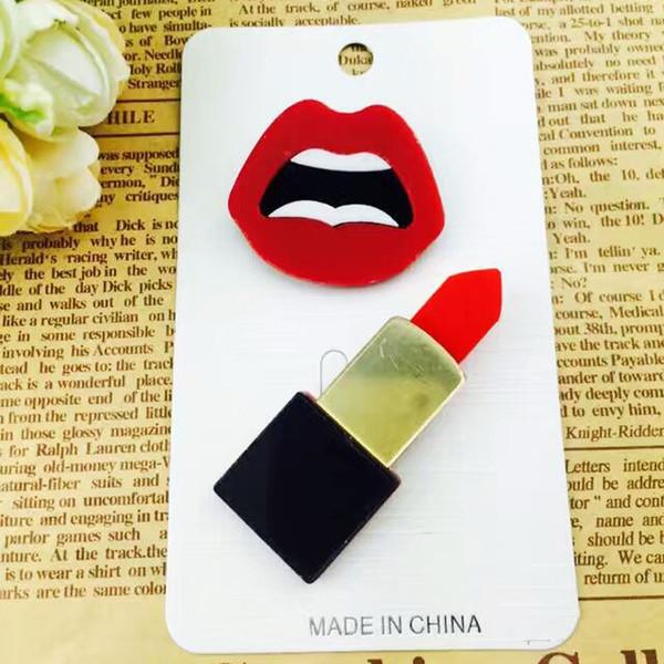 Wholesale- 1set Korean hand lipsticks Brooch Lapel pins Flower Symbol Brooches Safety Pins Percing Acrylic Broches Badge Shirt Collar Gift