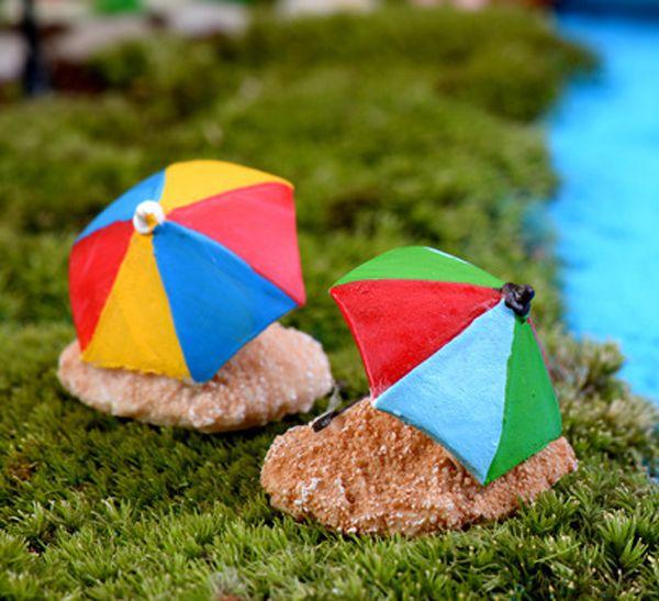 4pcs Artificial Beach umbrella mini fairy garden miniatures gnomes moss terrariums resin crafts figurines home decor ornaments
