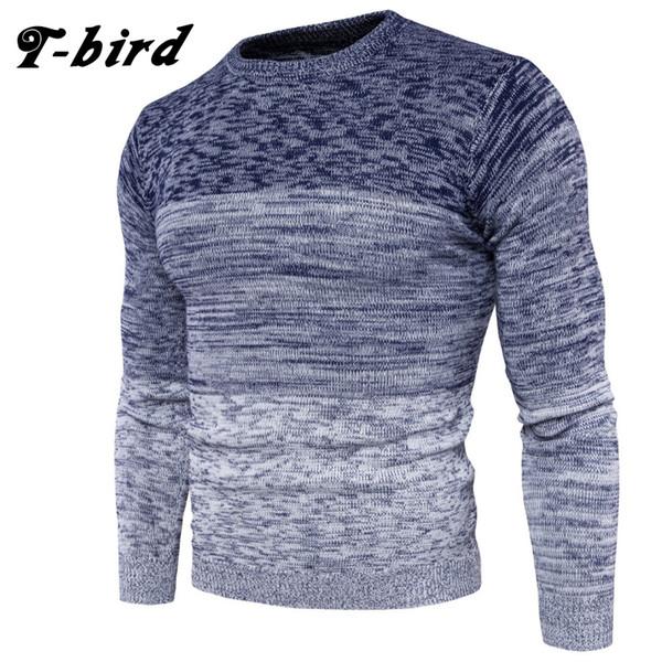 T-Bird Brand Clothing Men 2018 Suéter de moda Color de degradado simple O-cuello Slim Fit Casual Pullover Hombres Suéteres Para hombre que hace punto
