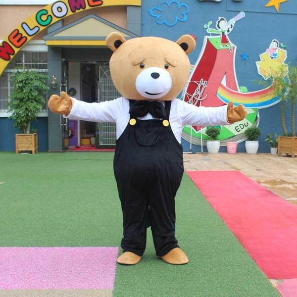 2018 Teddy Bear Mascot Costume Teddy Costume Adulto Fancy Dress Abbigliamento Halloween Party Suit Divertente animale Orso Costume