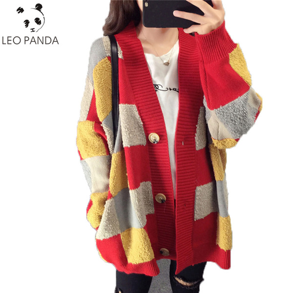 Осень новый высокое качество женская сетка печати однобортный повседневная с длинными рукавами V-образным вырезом свитер трикотажные иглы женский свитер C 431