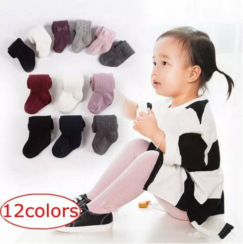 Ins Fashion 0-8Years Baby Girls braids Jacquard Bow Pantyhose Baby tights Infant Cotton Tights Kids Cute leggings stocking 12colors 35izes B