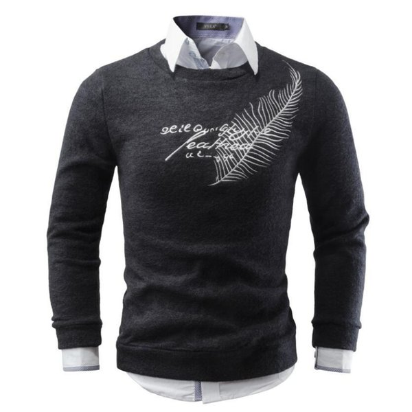 Men Sweater 2018 Brand Round Neck Sweaters Fashion Pullovers Winter Warm Jumpers Feather Embroidery Knitwear Plus Size S-XXL