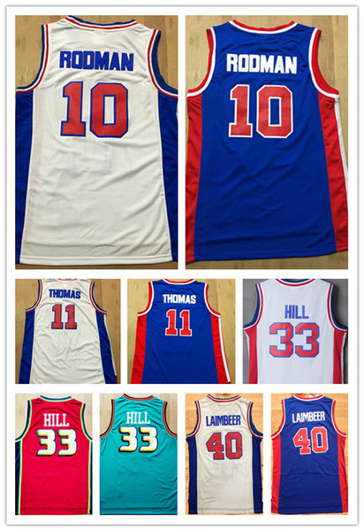NCAA Free Shipping Wholesale Men's Retro Shirt #10 Dennis Rodman Jerseys,#11 Isaiah Thomas 40#Bill Laimbeer 33# Grant Hill Basketball Jersey