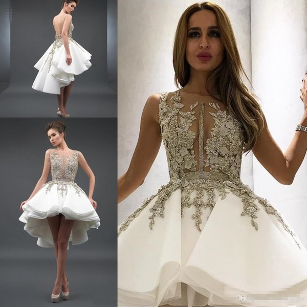 Sexy Sheer A Line High Low Cocktail Club Dresses Lace Applique Beaded Backless Short Party Prom Dresses