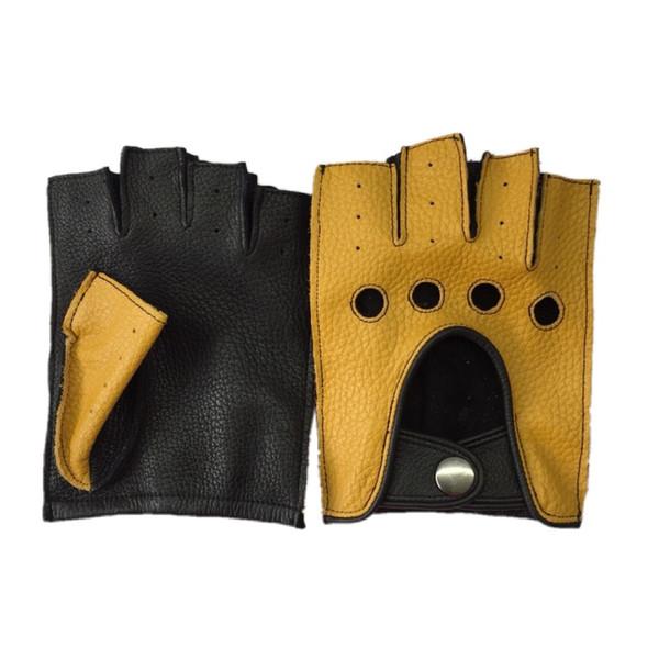 Guantes de cuero genuino de los hombres que conducen sin forro 100% piel de cabra muñeca masculina medio dedo guantes sin dedos gimnasio gimnasio