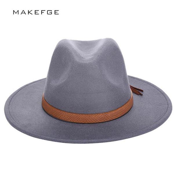 d573342f8fe 2016 Autumn Winter Sun Hat Women Men Fedora Hat Classical Wide Brim Felt  Floppy Cloche Cap Chapeau Imitation Wool Cap