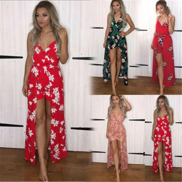 New2018 women's wear Bohemia flowers and plants Maxse culotte summertime evening party sandbeach jumpsuits