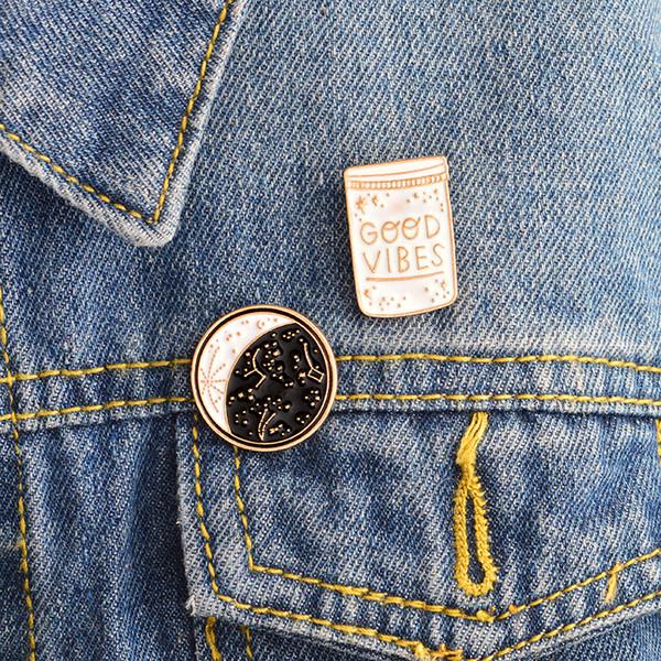 2pcs/set GOOD VIBES constellation Space Universe Warfare Brooch Denim Jacket Pin Buckle Shirt Badge Gift for Kids Friend