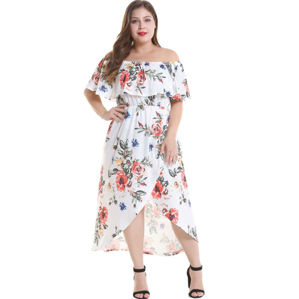 392f47a8e139 YSMARKET Casual Floral Print Summer Dress Women Sexy Off Shoulder Slash  Neck Ruffle Boho Beach Party