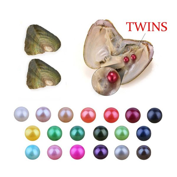 Free shipping 2018 DIY Mixed 27colors Akoya Twins pearls oysters, 6-8mm freshwater pearls, packed individually For Gift Surprise