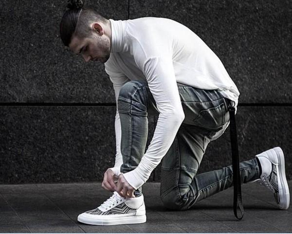 New Ripped Frayed Jeans For Men Skinny Destroyed Famous Slim Brand Designer Hip Hop Swag Tyga Hba Jeans Kanye West justin beiber beckham