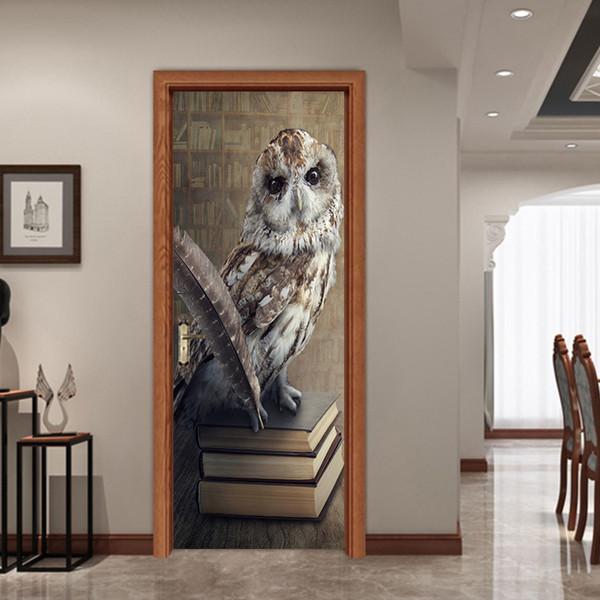 New 77*200cm Cartoon Owl Owl Standing On Book Door Stickers Mural Kids Bedroom Living Room Waterproof Removable Wallpapers Decal Home Decor