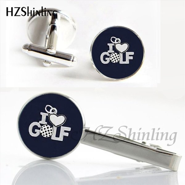 CT--001 Trendy Golf Ball Clips & Cufflinks Set Golfer Gifts Playing Gold Cufflink Silver Glass Tie Clip Men's Jewelry