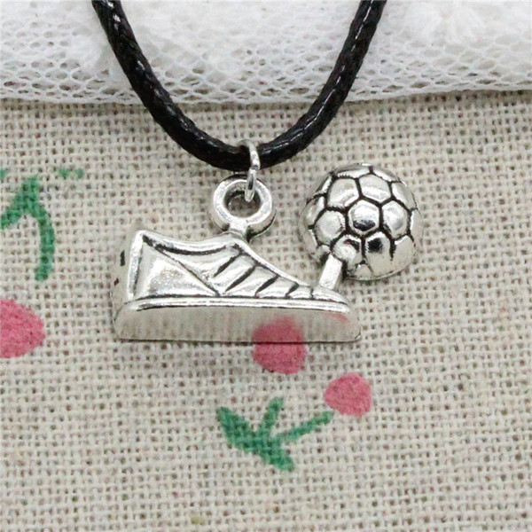 Creative Fashion Antique Silver Pendant football soccer cleats 15*23mm Necklace Choker Charm Black Leather Cord Handmade Jewlery