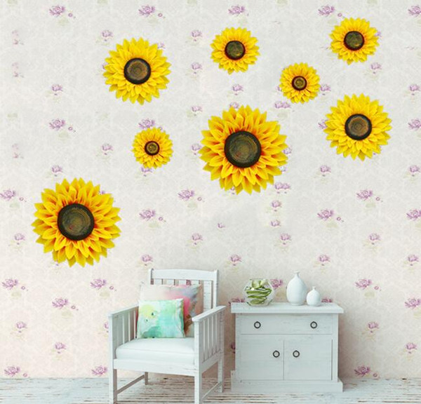 3D Artificial Sunflower Wall Stickers Cloth Sunflower For Wedding Home Party Decoration Craft Flowers Baby Shower Decoration