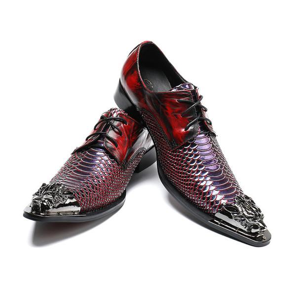 Italienische Mode Männer Kleid Schuhe Mode Fischschuppen Spitz Hochzeit Schuhe Business Oxford Schuhe mit Metall