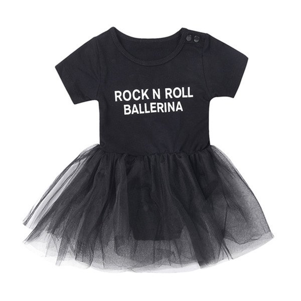 Baby Girls Jumpsuit&Skirt Black ROCK N ROLL BALLERINA Letters Printing Two-piece Clothing Sets TUTU Skirt Outfits