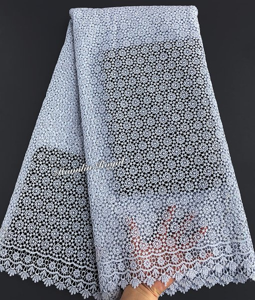 best selling 5 yards silver Metallic Lurex embroidery African cord lace guipure lace fabric allover very small eyelet holes