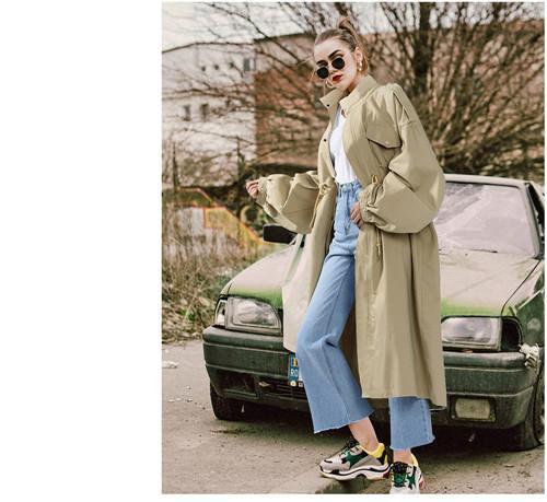 2018 automne mode nouvelles femmes grande taille manteau lâche polyvalent mode coupe-vent à manches longues épissage revers simple boutonnage couleur unie w