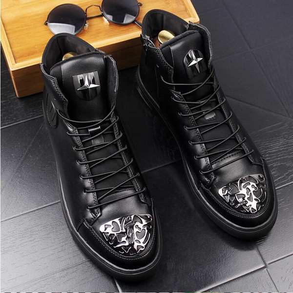 2018 New style Luxury Fashion High Top Casual Shoes Men PU Leather Lace Up Black Color Mens Casual Shoe Men High Top Shoes G23