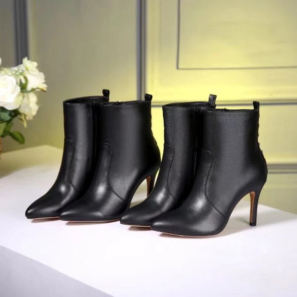 Autumn Winter New Fashion Women Pointed Toes High Heel Femal Rivet Leather Sexy High Heel Black Ladies High Heel Martin Boots Free Shipping