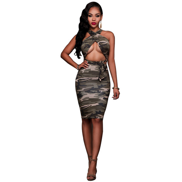 New European and American fashion trend army green sexy hanging neck strap, jacket half skirt two piece suit F0865