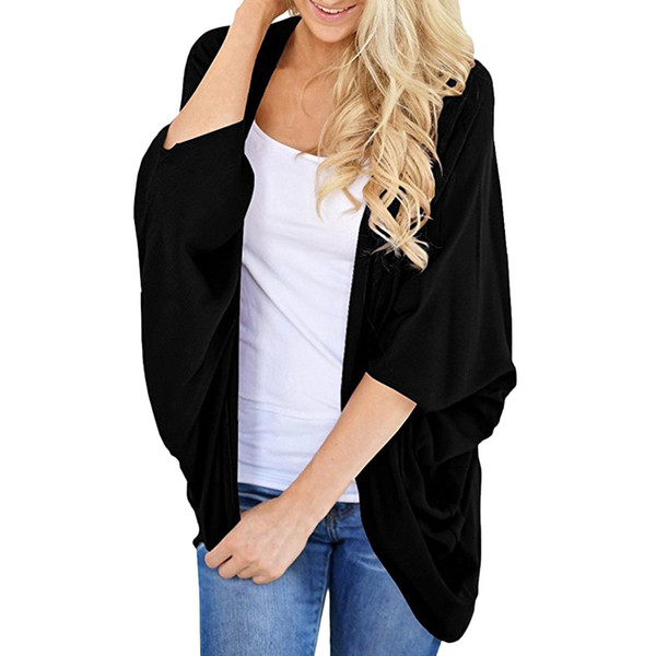 Feitong women jackets 2018 Autumn Women's Summer Solid Color Kimono Cardigan Loose Sleeves Cover up chaqueta mujer