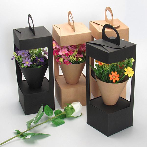 Emballage de fleurs Coffrets cadeaux design de phare sac floral Design Creative pliant floral boîte d'emballage noir / brun QW8837