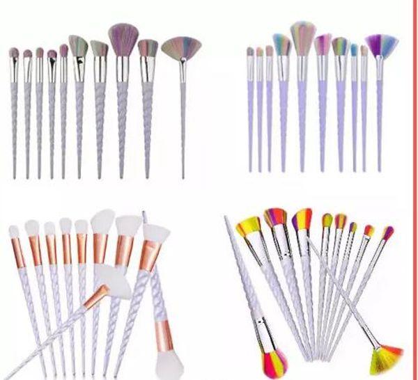 Fabrik Direkt DHL Freies Einhorn Make-Up Pinsel 10 STÜCKE Make-Up Pinsel Werkzeuge Tech Professionelle Schönheit Kosmetik Pinsel Sets