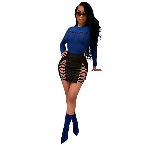 40a9748302 Women PU Faux Leather Skirt Lace Up Sexy Mini Pencil Skirt 2019 Spring  Autmn High Waist