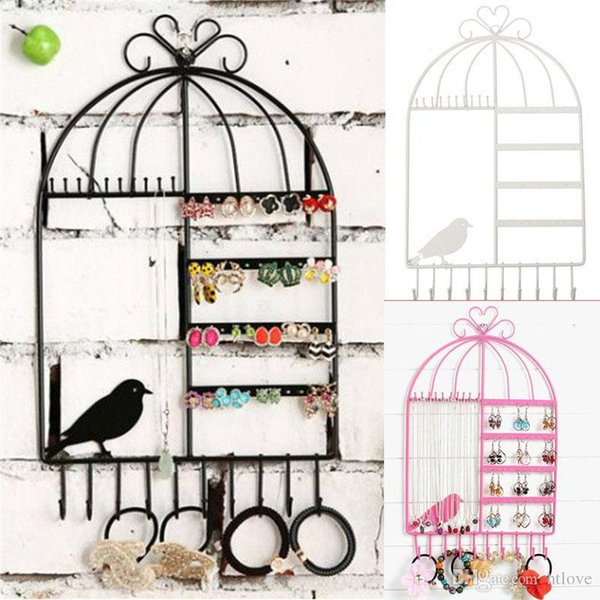 Black/Pink/White Jewelry Organizer Earing Holder Necklace Hanger/Stand Birdcage Jewelry Display Rack for Girls