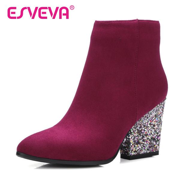 ESVEVA 2018 Zipper Outono Sapatos Mulheres Flock Moda Botas Senhoras Ankle Boots Thick High Heel Partido Strass Sapatos de Tamanho 34-43