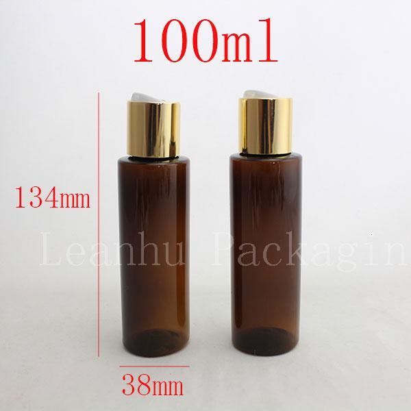 100ml X50 botella de viaje de PET vacía de color marrón con tapa de disco de aluminio de oro, prensa, aceite de la familia DIY botellas de spa envase 100 ml