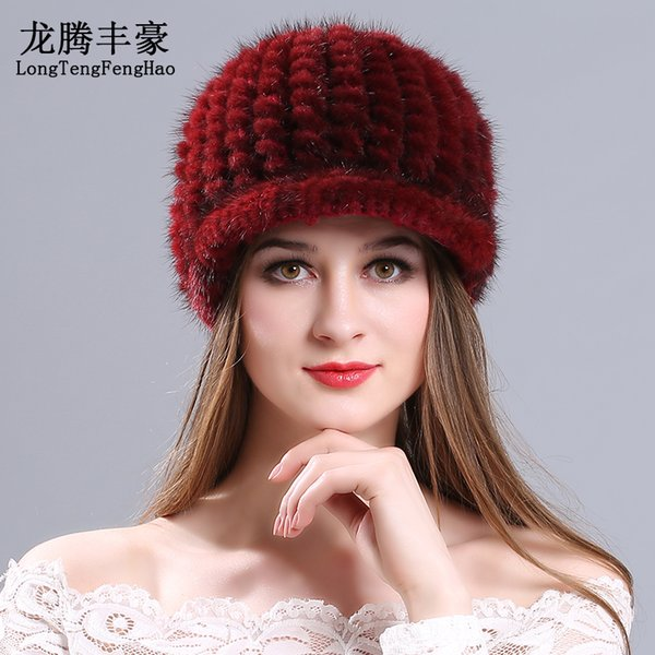 Mink peaked cap female hats 2017 winter Knitting wool beanies for Russian elastic suitable for most of people Casual thick hat D18110102