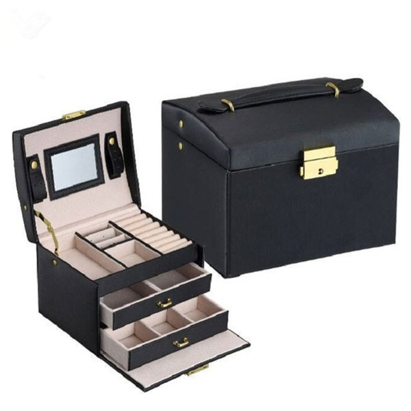 2018 Durable Exquisite Makeup Orgainzer Sundries Container PU Leather Dressing Table Jewelry Box Double Drawer Storage Boxes