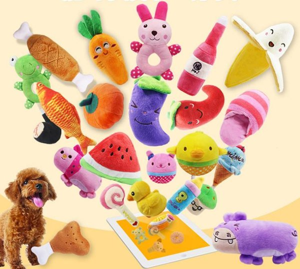 Dog Toys Pet Puppy Chew Squeaker Squeaky Plush Sound Cute Fruit Vegetable Designs Toys Pet products a827
