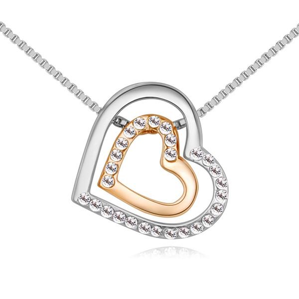 Gros double cœur en coeur collier pendentif bijoux faits avec des cristaux tchèques pour 2018 femmes cadeau de fête des mères