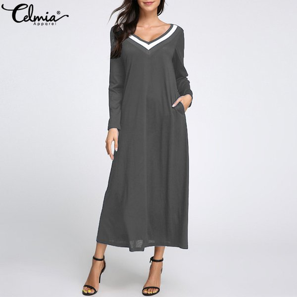 1a62b2131b Celmia Elegant Plus Size Women Dresses 2018 Autumn Long Sleeve Casual Maxi  Dress Femme V Neck Long Veatidos Beach Sundress 5XL
