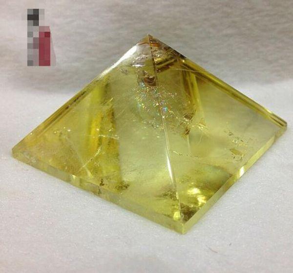 Natural citrine Topaz decoration Pyramid stone grinding Wang Yun shaped lucky draw