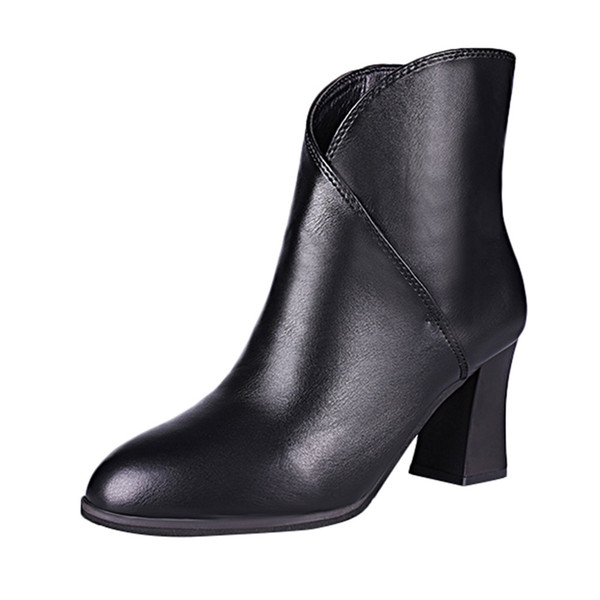 Women Luxury Designer Retro Leather Pointed Toe High Heel Candy Color High Quality Shoes Non-Slip Short Tube Martin Boots